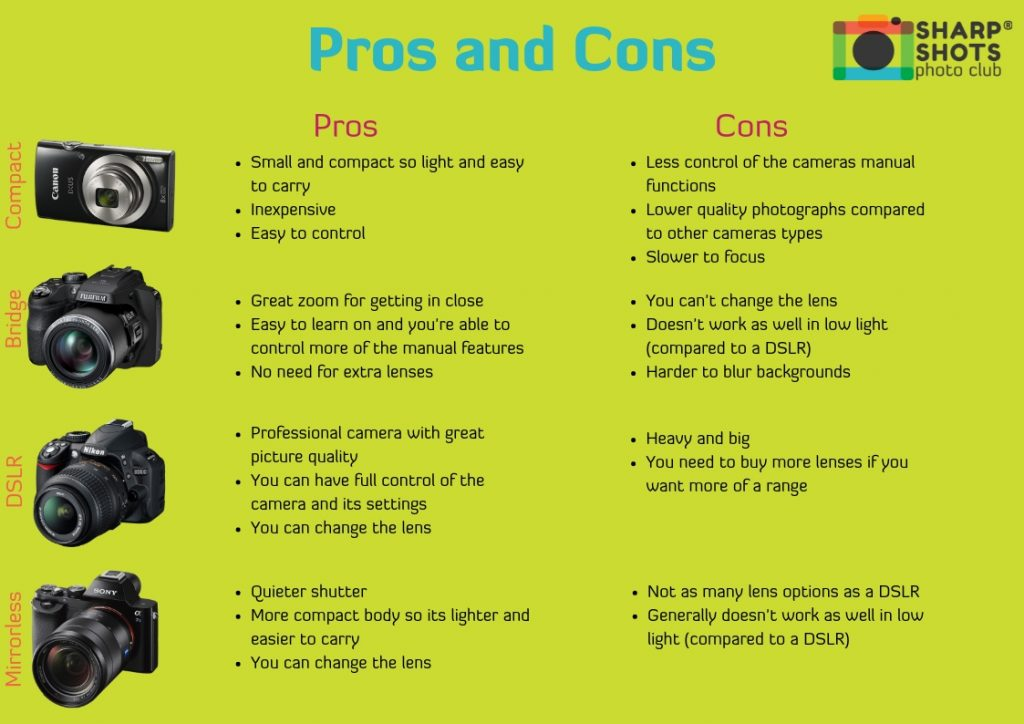 pros and cons of different cameras, mirrorless camera, compact camera, bridge camera, DSLR camera, best camera for children, best camera for teenager, sharp shots photo club