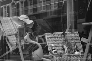 Interesting shop window in london black and white