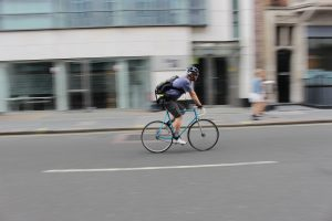 Panning photograph of a cyclist in london