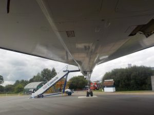 Brooklands museum Concorde photographed from underneath