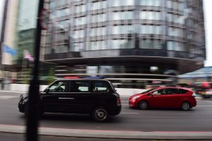 Panning photograph of cars in London