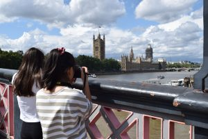 Teens photographing the river thames