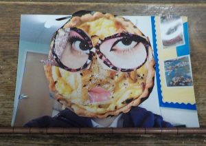 Funny face collage made from photos and magazines