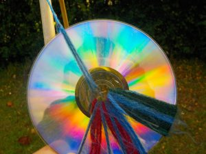 A rainbow pattern on the back of a CD