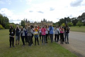 Group photograph of all the kids on a Waddesdon Manor photography course