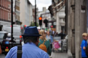Colourful busy london street scene
