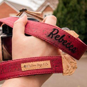 Cork camera strap, eco friendly camera strap, personalised camera strap